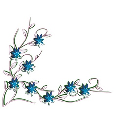white background with blue flowers vector image