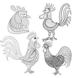 Zentangle Cartoon rooster cock set Hand drawn vector image