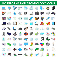 100 information technology icons set vector