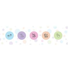5 birth icons vector