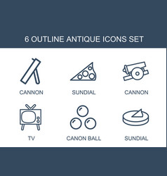 6 antique icons vector