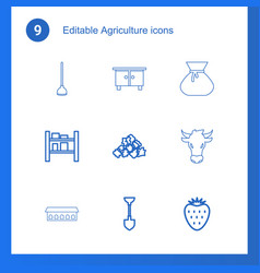 9 agriculture icons vector image