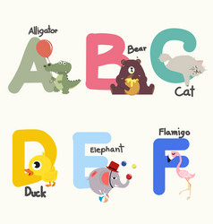 animal alphabets for children from a to f vector image