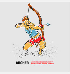 Archer girl with bow outline archer vector