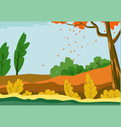 Autumn landscape field with falling leaves tree vector