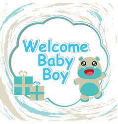 Baby shower card with cartoon cute hippo vector