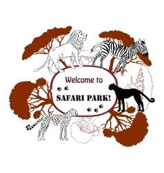 Background with savanna animals-05 vector