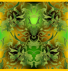 baroque ornate green seamless pattern luxury vector image