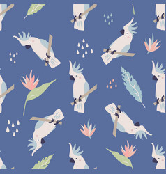 beach tropical seamless pattern with cockatoos vector image
