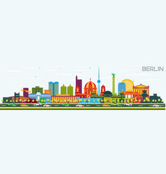 Berlin germany skyline with color buildings and vector