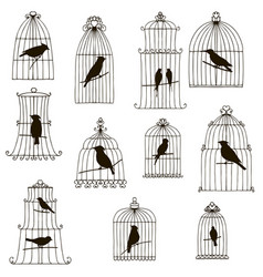 Birds in cages silhouettes vector