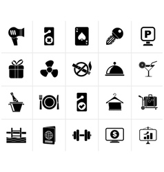 Black Hotel and motel services icons 2 vector