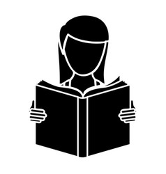 Black woman to read a book icon vector