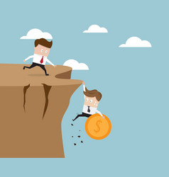 Businessman holding money coin hanging on cliff vector