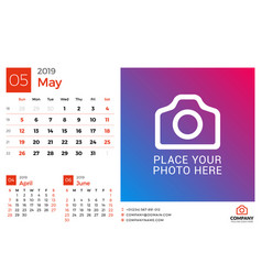 Calendar for may 2019 design print template with vector
