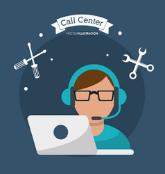 Call center man working with headset vector