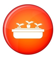 Carrots in a wooden pot icon flat style vector