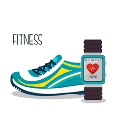 cartoon sneakers smart watch sport elements design vector image