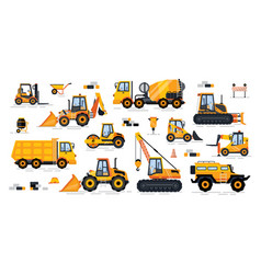 Cement mixer industrial machinery isolated icons vector
