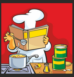 chef preparing soup and reading recipe cookbook vector image