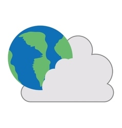 Cloud with earth planet icon vector
