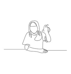 Continuous one line woman pull her hand up want vector