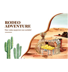 Cowboy frame design with chest cactus money vector