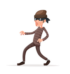Criminal thief sneak walk cartoon character vector