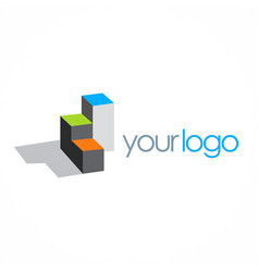 Cube box building 3d logo vector