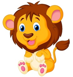 Cute young lion cartoon vector