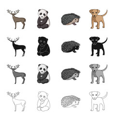 elk horns panda and other web icon in cartoon vector image vector image