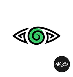 Eye logo Spiral tribal style tattoo sign Line vector