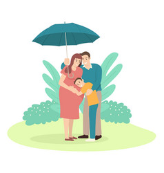 father holding an umbrella for his family vector image