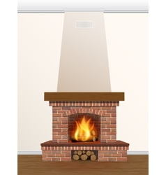 Fireplace with burning fire vector