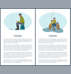 fishing in summer and in winter icons vector image