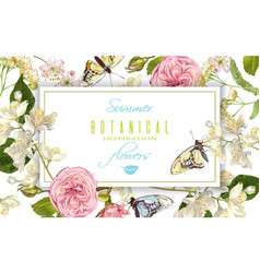 Flower butterfly horizontal banner vector