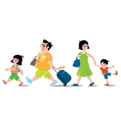 Funny family in airport goes on vacation vector