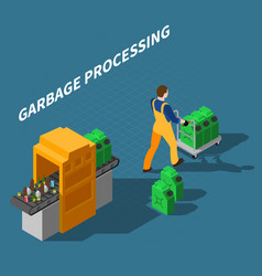 Garbage processing isometric composition vector