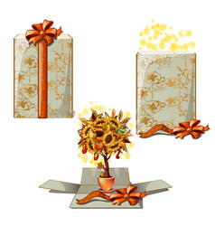 gift box with a decorative tree a gift for vector image