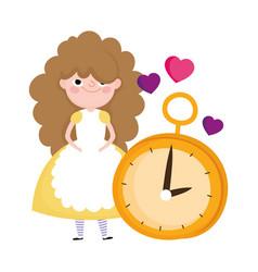 Girl and clock hearts love cartoon characters vector