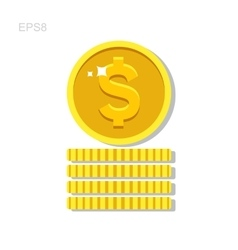 Gold money coin icon vector