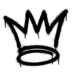 Graffiti spray crown icon with over spray vector