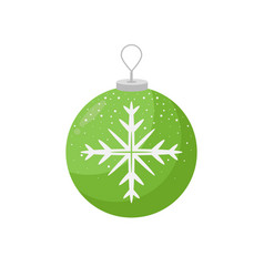 green christmas decoration with white snowflake in vector image