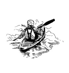 hand sketch kayaker vector image