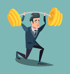 Happy businessman lifting up barbell vector