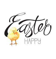happy easter hand-drawn lettering vector image