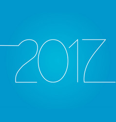 happy new year number 2017 isolated on blue backg vector image