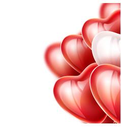 heart balloon silk ribbon realistic set vector image