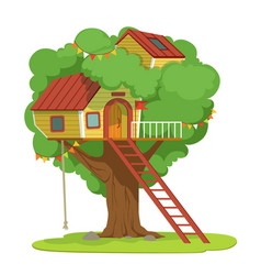 House with ladder on green tree vector