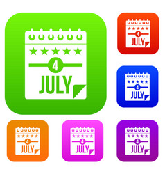 independence day set color collection vector image